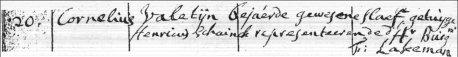 Doopinschrijving, 20 februari 1725